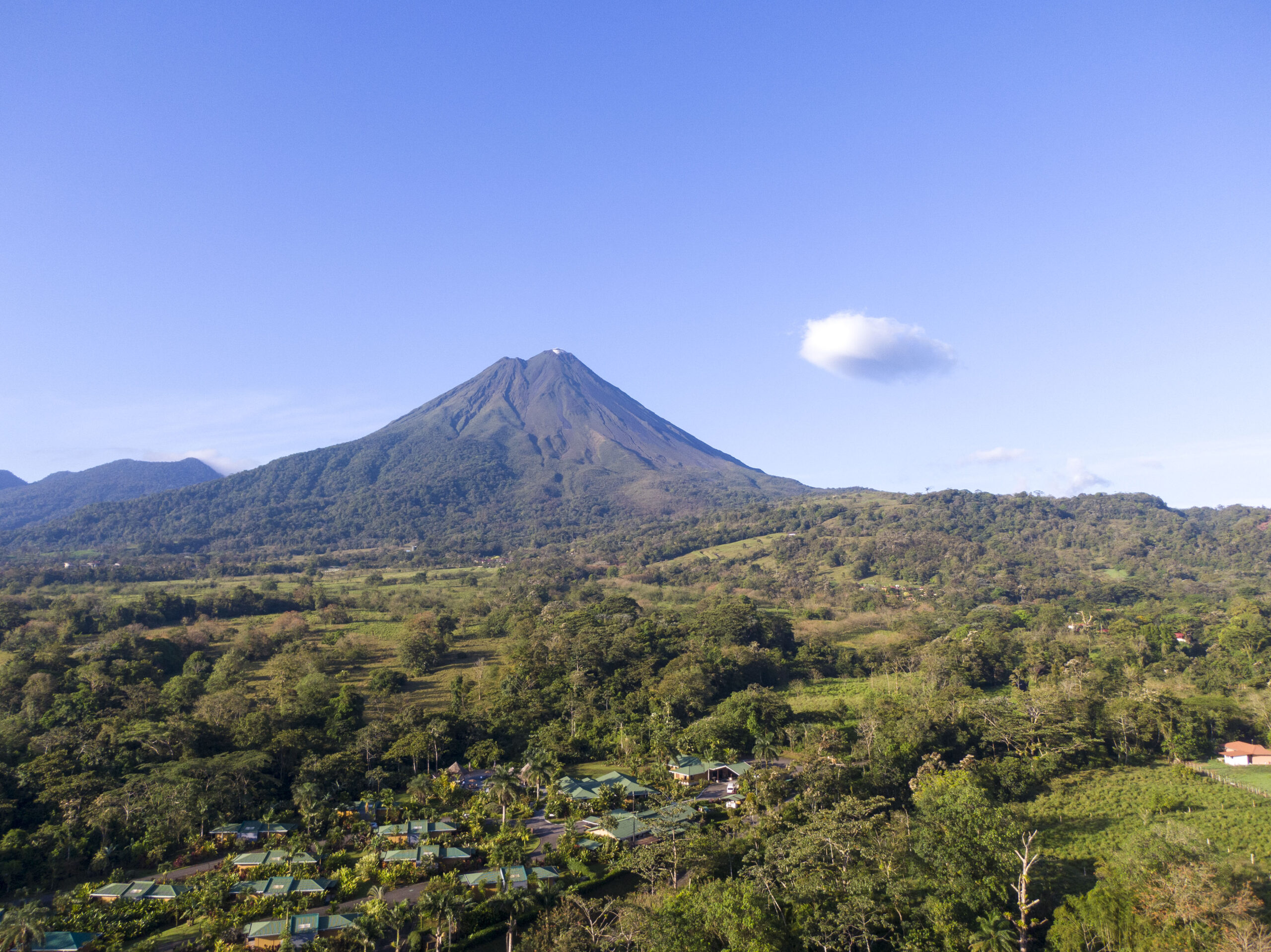 Aerial View of Arenal Manoa with Arenal Volcano in the background